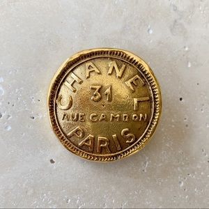 VINTAGE CHANEL Brooch Rue Cambon Paris Gold Pin